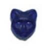 Glass Bead Cat Head 11mm Cobalt Blue Aurora Borealis/Matt - Strung